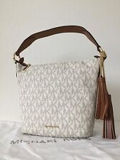Michael Kors Elana Vanilla Monogram Medium Convertible Shoulder Bag Bucket Tote