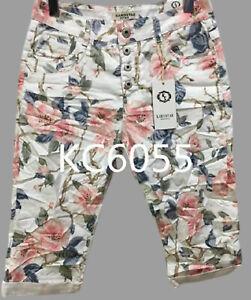 Karostar: edle Boyfriend Baggy Capri Bermuda Jeans Hose weiss/mehrf.  38 - 48