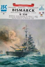 German Battleship Bismarck U-Boot U-556 Cardboard Waterline Model Scale 1:400