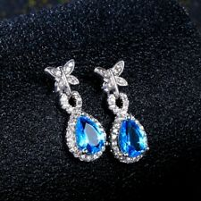 Charm 925 Silver Water Drop Aquamarine Butterfly Zircon Dangle Earring Stud Gift