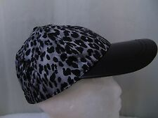 August Accessories Women's Leopard Print Baseball Cap Casual Black Gray One Size