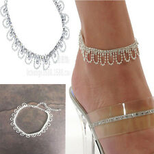 Fashion Crystal Charm Drop Tassel Ankle Chain Bracelet Anklet Wedding Jewelry