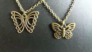 """LADIES FASHION JEWELLERY BUTTERFLY PENDANTS ON 16"""" CHAIN ANTIQUE BRONZE TONE NEW"""