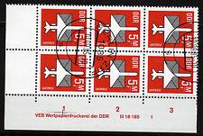DDR 2967 DV, O, 5 Mark Flugpost, 6er-Block mit Druckvermerken