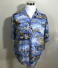 Reyn Spooner Hawaiian Shirt Large Rayon Fishing Palm Trees Boat