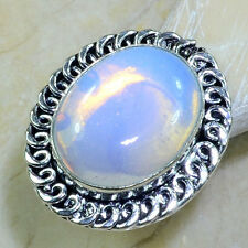 LOVELY HUGE GENUINE OPALITE RING GEMSTONE 21X17MM SIZE 7 SILVER FREE SHIPPING