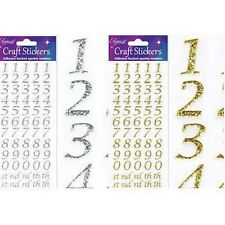 BEAUTIFUL GLITTER STYLISED NUMBER SILVER STICKER TOPPERS FOR CARDS AND CRAFTS
