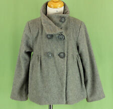 227 ZARA Kids girl gray WOOL blend winter jacket double breasted coat EUC 4-5