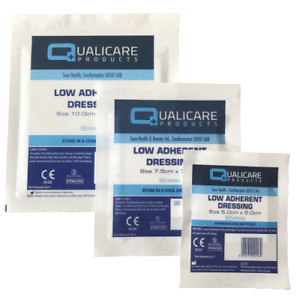 Low Adherent Dressings - 10cm, 7.5cm, 5cm First Aid Cuts Burns & Wounds