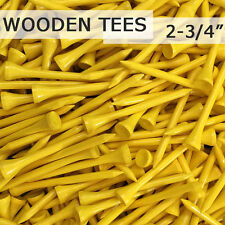 "50 pcs 2 3/4"" 70MM LONG LENGTH YELLOW NEW GOLF NATURAL REAL WOOD TEES TEE PGA"