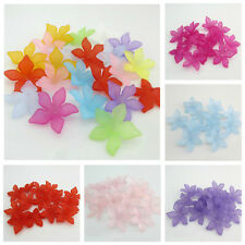 30PCS 28MM FROSTED ACRYLIC MIXED COLOURED FLOWER BEADS FOR JEWELLERY MAKING