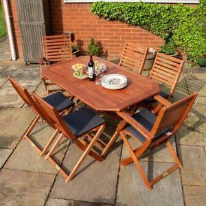 Rowlinson Plumley 7 Piece Hardwood Set Grey Cushions - Brown