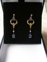 PAIR OF 9CT GOLD SAPPHIRE & DIAMOND DROP EARRINGS MADE IN UK BRAND NEW IN BOX