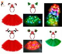 LADIES KIDS CHRISTMAS TUTU COSTUME + HEADBAND Fancy Dress  Santa Party NEW UK