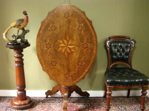 ANTIQUE WALNUT HALL / CONSOLE TABLE / CENTRE TABLE ~ VERY FINE INLAY  c1890s