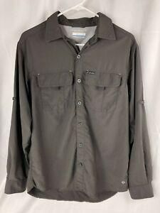 Columbia Mens Grey Omni Shade Sun Protection Hiking Camping Shirt Mesh Lined S