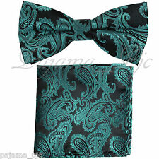 Mermaid Green Paisley Pre-tied Bow tie and Pocket Square Hanky Set Formal Party