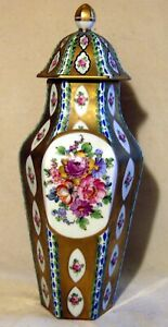 Antique Carl Thieme Dresden Porcelain Hand Painted Urn Or Covered Vase