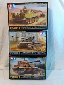 TAMIYA 1:48 TIGER TANK BUNDLE. INITIAL, EARLY, LATE VERSIONS. NEW AND COMPLETE