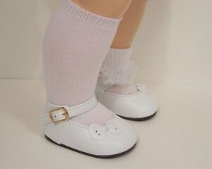 """WHITE Sidebow Custom Fit Doll Shoes For 22"""" Saucy Walker Doll (Debs*)"""