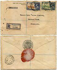 SINGAPORE 1935 SILVER JUBILEE REGISTERED NEW ZEALAND INSURANCE CO ENV KIWI BIRDS