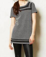 Anthropologie Postmark Sz Large Blk & Wht Basket Weave Tunic Top