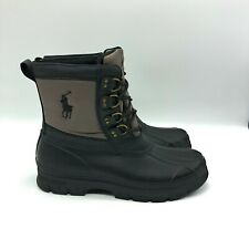 Polo Ralph Lauren Crestwick Duck Boots Black Charcoal Grey 13 D New without Box