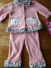 BNWT USA YOUNG HEARTS CAT FLEECE  JACKET AND TROUSERS  6/9 MONTHS