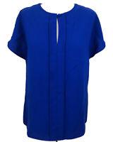 Ladies Ossie Clark London Blouse Blue Keyhole Button Summer Blouse Size 12
