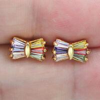 18K Yellow Gold Filled Women Rainbow Topaz Zircon Bowknot Stud Earrings Jewelry