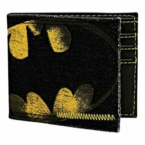 NEW BIOWORLD Batman Logo Denim Bi-fold Wallet 4 card slots Official Licensed