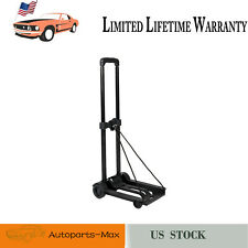 Portable Mini Folding Luggage Cart Trolley Rolling Cart 4Wheel Metal Stand Black