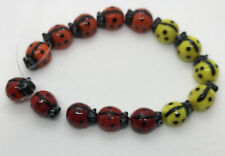 Ladybug Beads, Lampworked Glass, 12 x 10 mm, Red, Yellow, Orange, string of 15