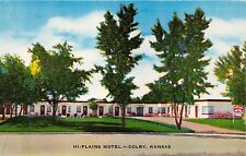 COLBY KANSAS HI PLAINS MOTEL~THE GOLDEN BUCKLE OF THE WHEAT BELT POSTCARD 1957