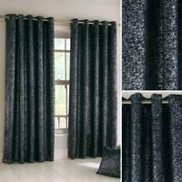 Navy Eyelet Curtains Metallic Sparkle Block-Out Thermal Ring Top Curtain Pairs