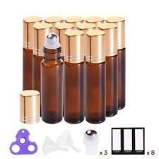 Botellas Roll-On De Vidrio Ámbar Para Aceites Esenciales Etiquetas Abridor