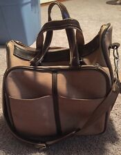 Vintage American Tourister Travel Carry-On Canvas Brown Leather Messenger Bag