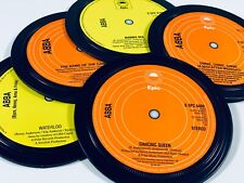 More details for abba. 5 record label coasters. dancing queen, waterloo, gimme gimme gimme