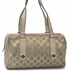 Authentic GUCCI GG Hand Boston Bag Suede Leather Light Green Gold C7057