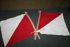 Original WW2 U.S. Army Signal Corp Flags Matching Set on Wood Poles Named to GI