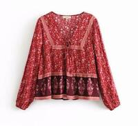 Bohemian S-L Red Floral Print Peasant Blouse Women Shirt V-neck Hippie Retro Top