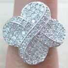 925 STERLING SILVER solid HEAVY cz designer Insp. CLUSTER ring size N P women