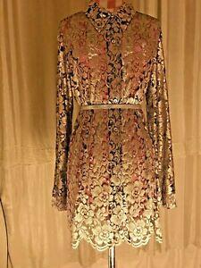 Vintage Wallis gold bronze black lace fitted shirt dress