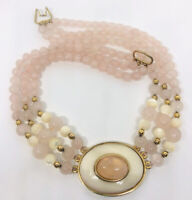 Beautiful 3 Strand Rose Quartz & Mother of Pearl Bib Necklace Vintage Jewelry