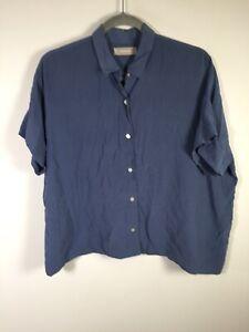 Everlane womens silk blue oversized button up shirt size 8 short sleeve