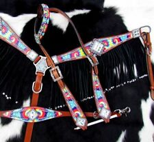 Western Horse Bling! Rainbow Tie Dye Bridle Breast Collar Wither Strap Tack set