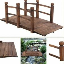 5 ft Wooden Garden Bridge Classic Arch Footbridge Decorative Pond Walkway