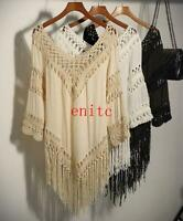 Womens Crochet FRINGE Top V-Neck 3/4 Sleeve Bohemian Boho Shirt Tunic Plus Size
