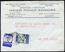 SPAIN MOROCCO TO USA Cover w/Advertising 1952 (w/a little cut) VERY GOOD