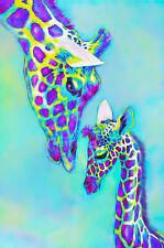 Giraffe Abstract Watercolour Love Teal Canvas Fine Art 20 x 30 A1 Large family